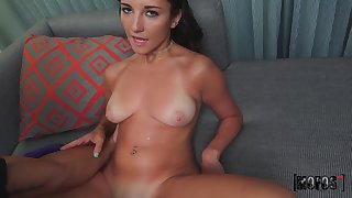 Cock stimulated Jade Amber plays with a dildo winning having sex