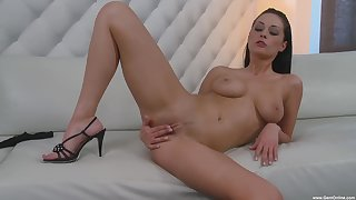 Busty diva rubs pussy in seductive modes for ages c in depth posing on cam