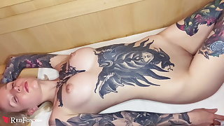 Tattoed Babe Fingering Pussy increased by Orgasm in Sauna