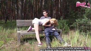 German skinny amateur teen open-air fuck date