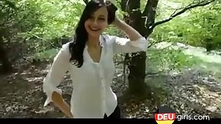 Cute german teen blowjob outdoors in the forest