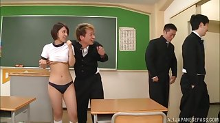 Japanese teen to thongs Hinata Mio gang banged and cum sprayed