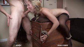 Teen secretary in stockings Riley Reyes force fed flannel down her throat