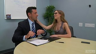 Secretary Natasha White with glasses sucks a dick connected with POV and rides him