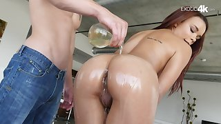 Lovely Latin Raven Redmond gets her pussy lubed, fucked and creampied