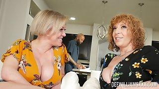 Slutty pornstars Dee Williams and Sara Goose fucked by a black sensual