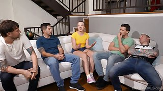 Amateur guys get together for Ashley Manson to blow them all
