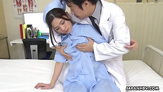 Naughty coupled with hot Japanese nurse Anna Kimijima is into riding cock on top