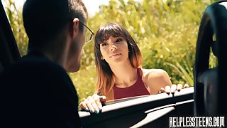 XXX passenger Kitty Carrera is face fucked off out of one's mind stranger driver