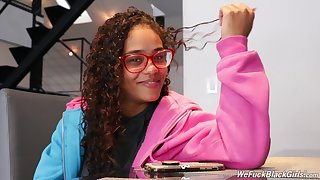Hot nerdy ebony chick Scarlit Scanda and her unconventional interview