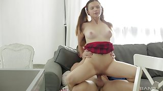 Sweetie rides similar kind a pro and pleases her colleague with orgasm