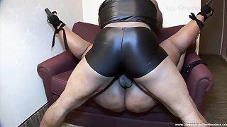 Obese black babe enjoys her masked black fixture