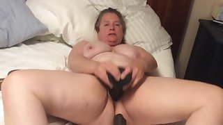 BBW dam on touching hairy pussy takes BBC dildo on touching foreskin